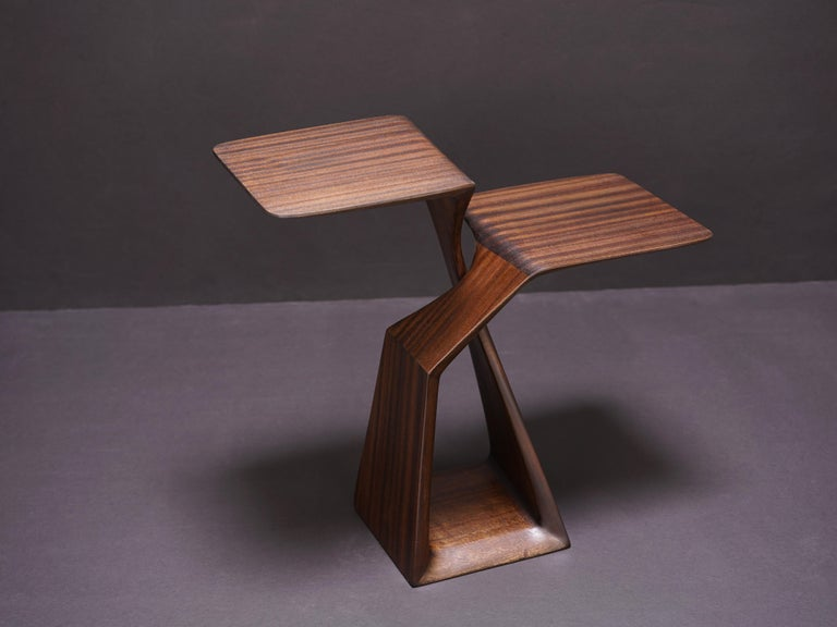 The Loop, Organic, Sculpted, Contemporary Sapele Drink Stand or Occasional Table In New Condition For Sale In Hoboken, NJ