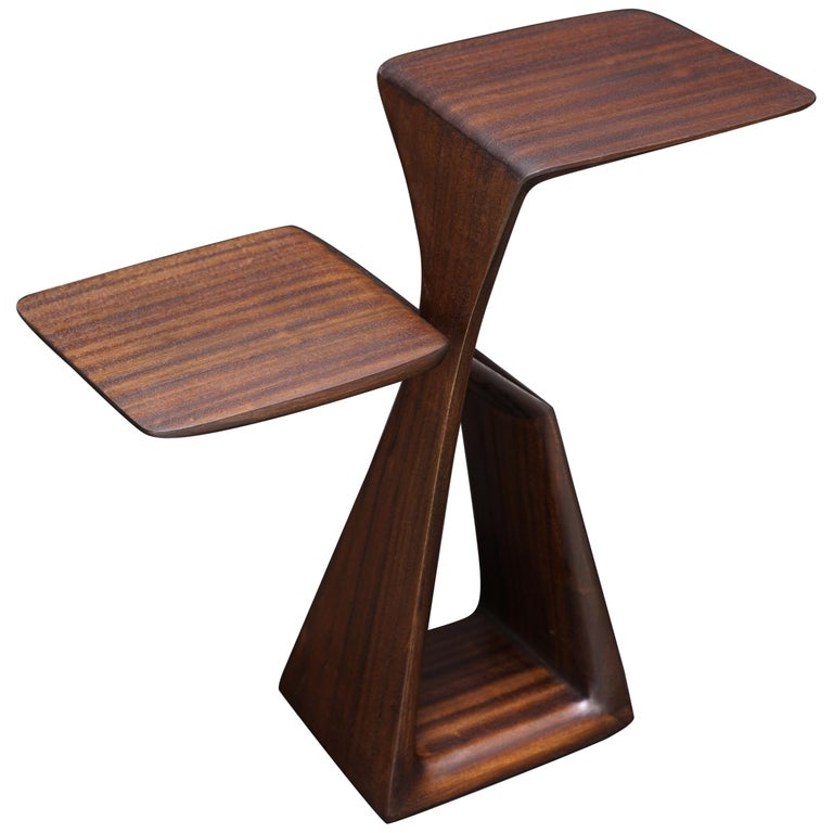 The Loop, Organic, Sculpted, Contemporary Sapele Drink Stand or Occasional Table For Sale