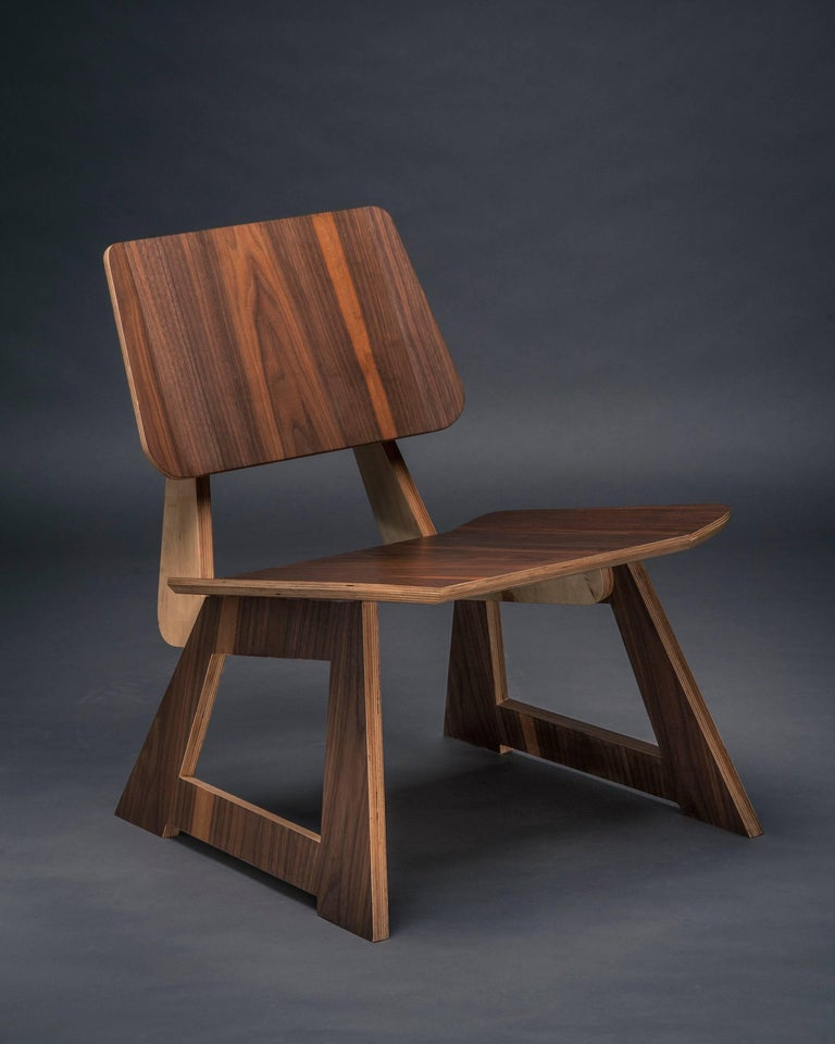 Hand-Crafted Mafoo Lounge Chair Walnut veneered plywood handmade by Lee Matthews For Sale
