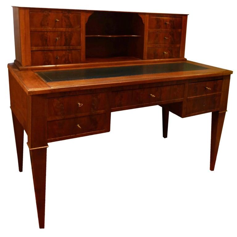 Important Mahogany 11 Drawers Directoire Desk, France, circa 1850