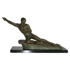 """The Man on a Raft"" Lovely European Sculpture Signed by Cipriani"