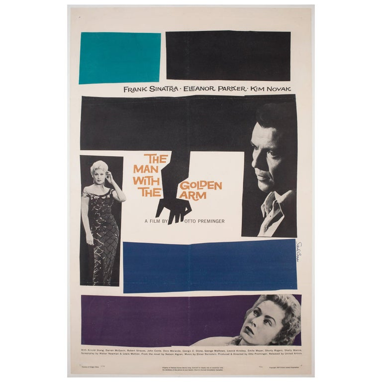 'The Man with the Golden Arm' 1956 US 1 Sheet Film Poster, Bass For Sale