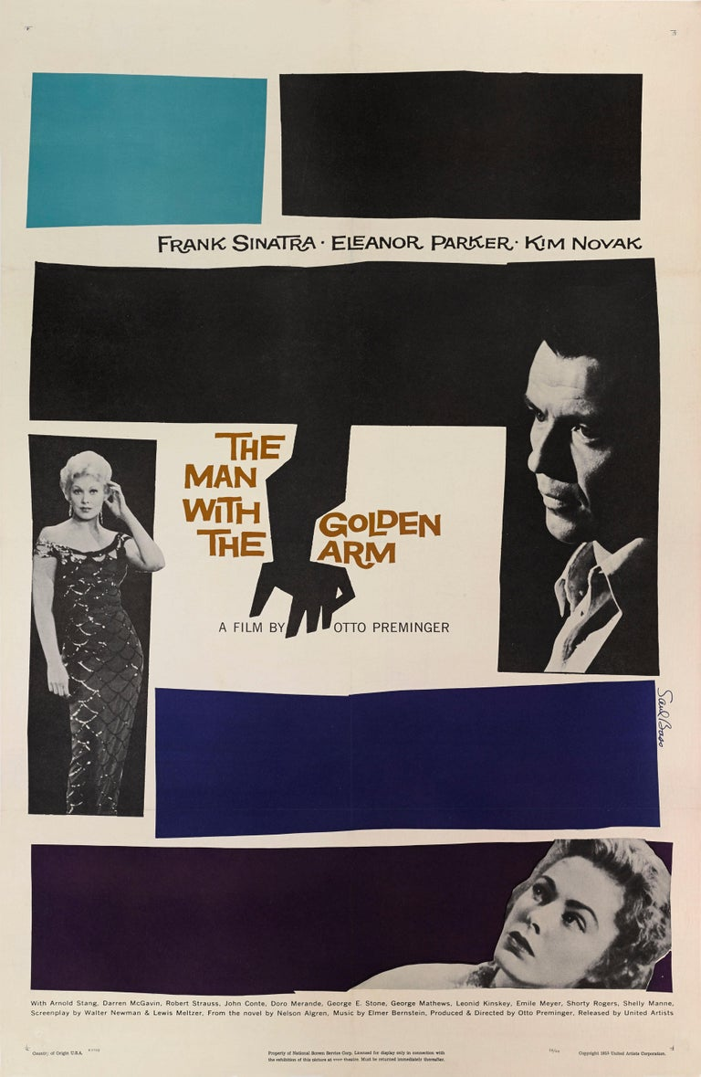 Original US film poster. Saul Bass was born in New York. Bass was a rotund, jovial character. After studying at the Art Students League and graduating from Brooklyn College, he moved west at the age of 26, and is credited with introducing an East