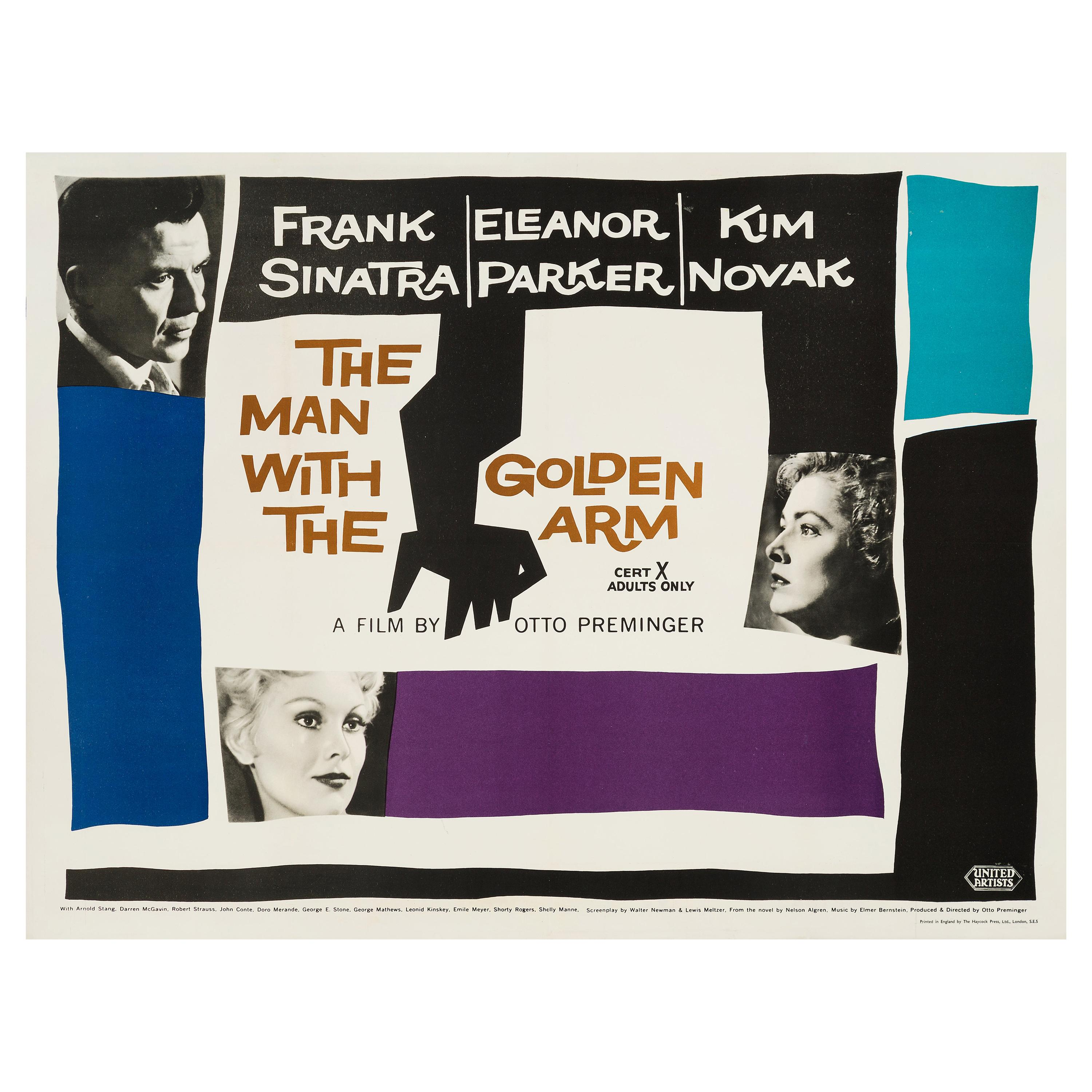 """""""The Man with the Golden Arm"""" Original Movie Poster by Saul Bass, British, 1956"""