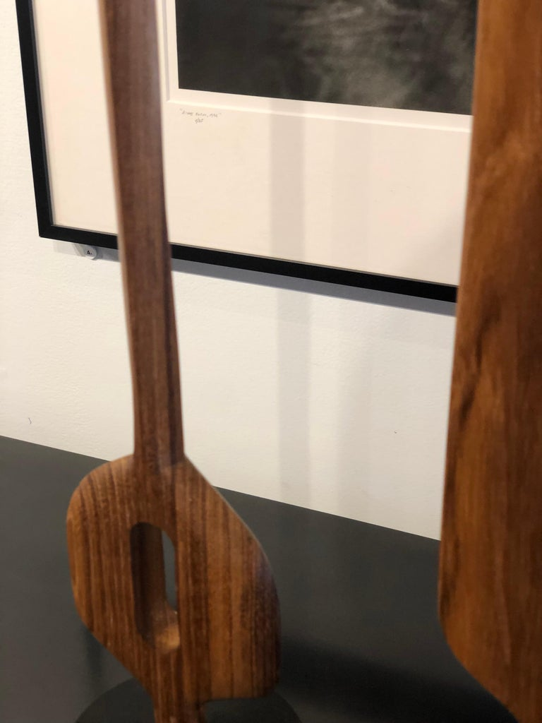 Contemporary Hand Carved Original Grouping of Three Teakwood Totem Sculptures by Steve Turner For Sale