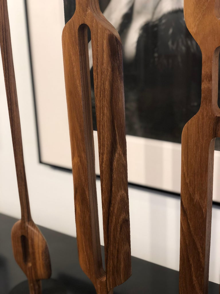 Wood Hand Carved Original Grouping of Three Teakwood Totem Sculptures by Steve Turner For Sale