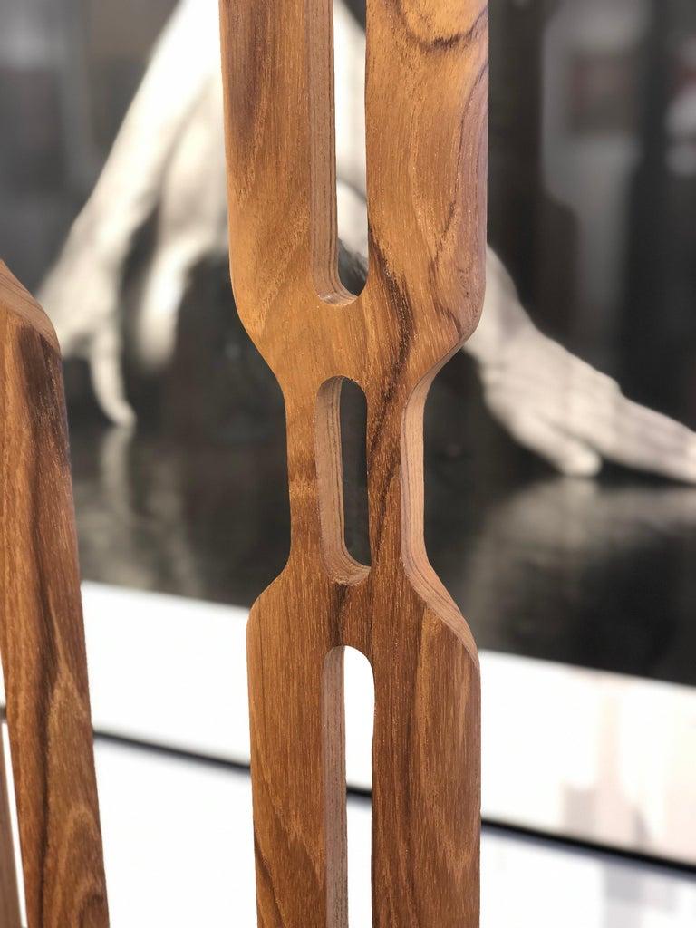 Hand Carved Original Grouping of Three Teakwood Totem Sculptures by Steve Turner For Sale 1