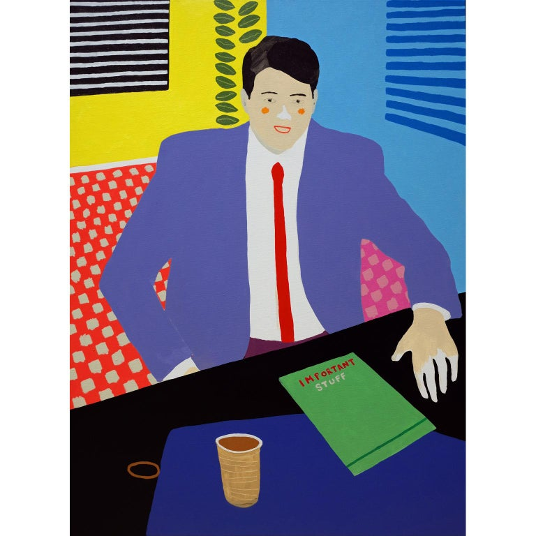 Modern 'the Management Position' Figurative Portrait Painting by Alan Fears Pop Art For Sale