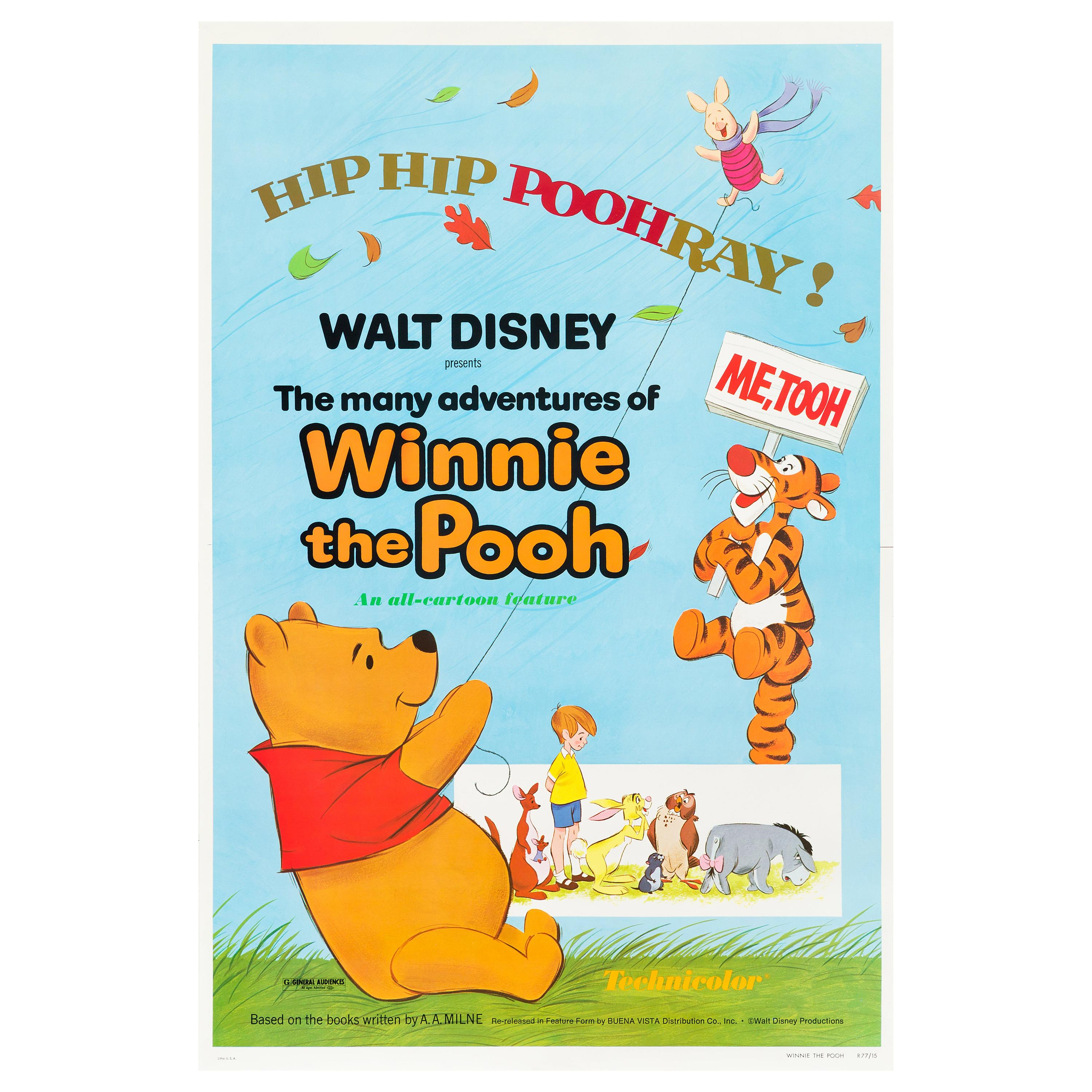 """""""The Many Adventures of Winnie the Pooh"""" Original Vintage Movie Poster, 1977"""