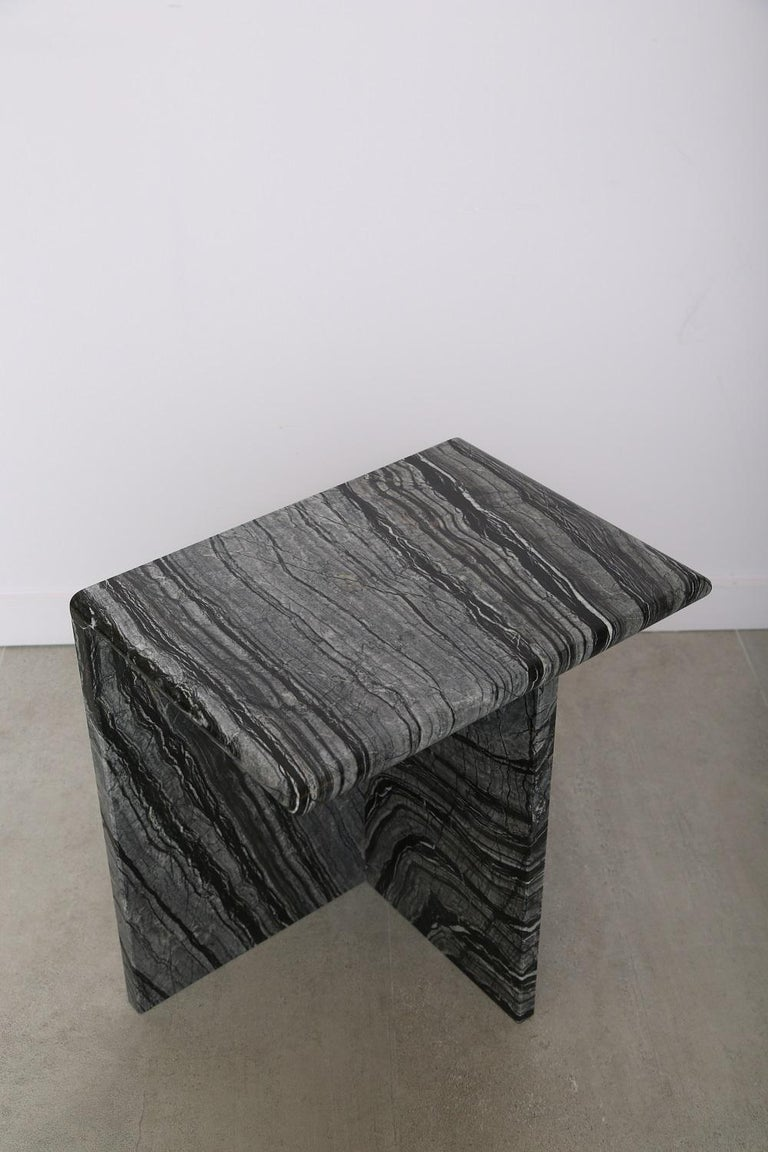 The Marble House Black Wood High Side Table, Handmade in Italy For Sale 3
