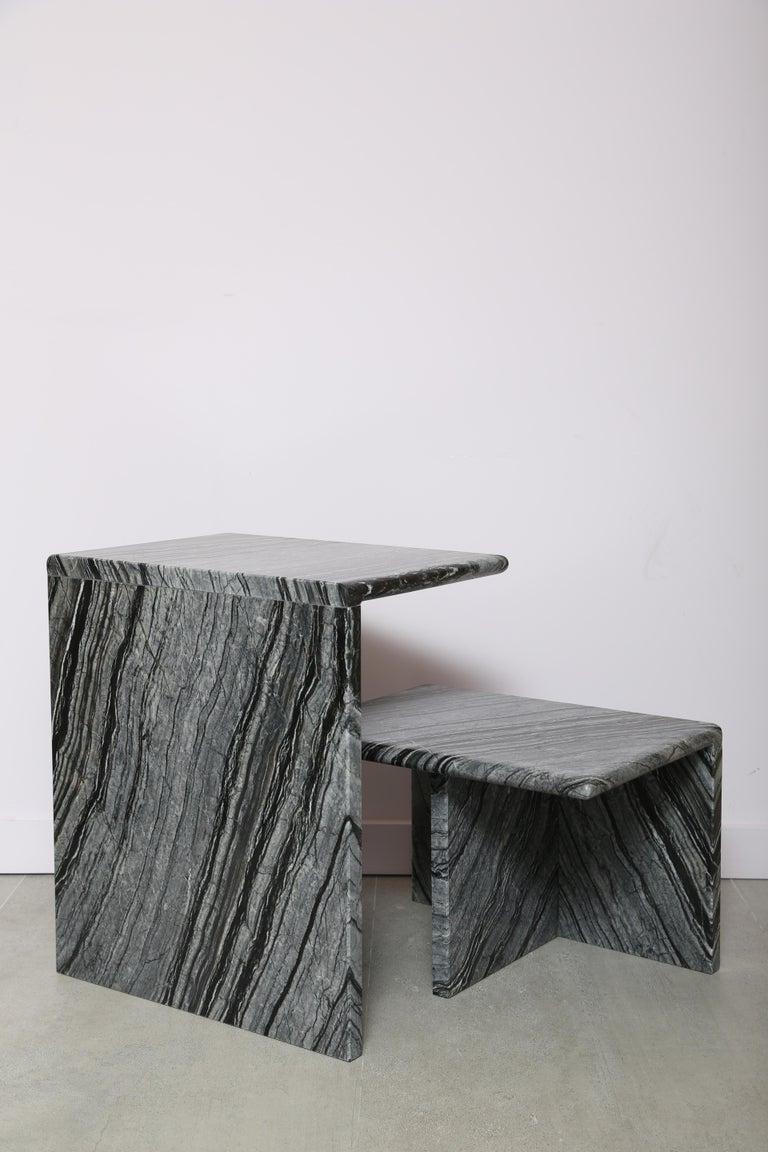 Black wood high side table. Handmade in Italy.  Measures: 15.34