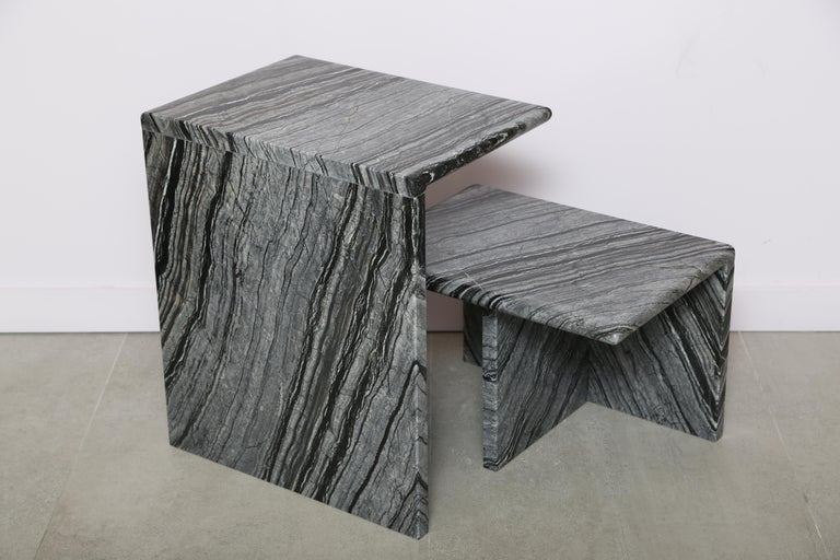 Italian The Marble House Black Wood High Side Table, Handmade in Italy For Sale