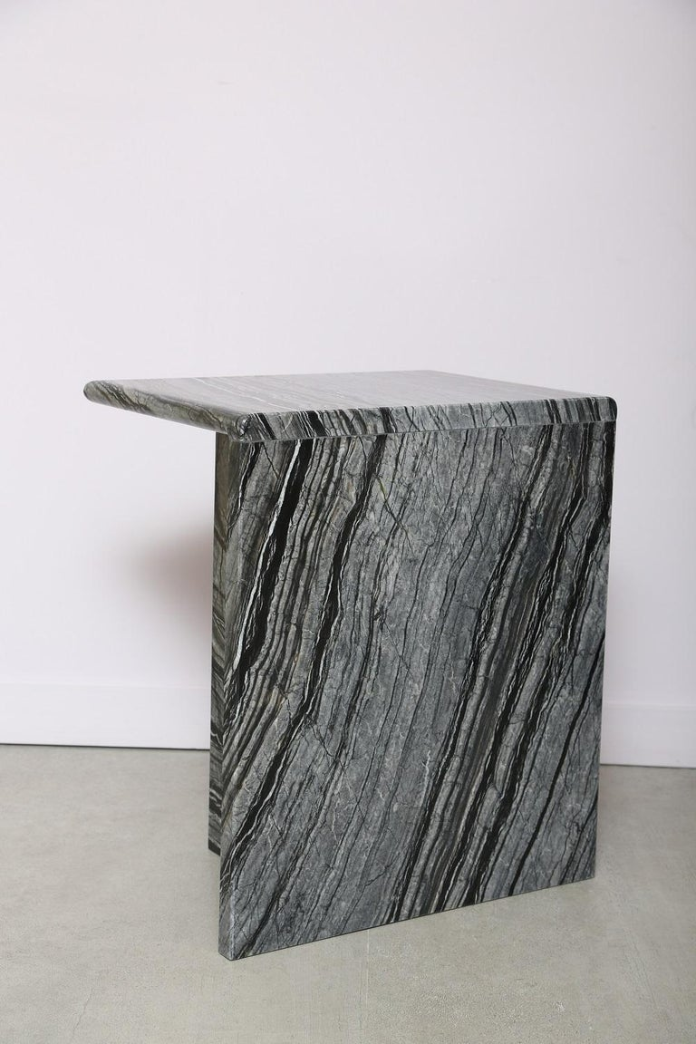 Hand-Crafted The Marble House Black Wood High Side Table, Handmade in Italy For Sale