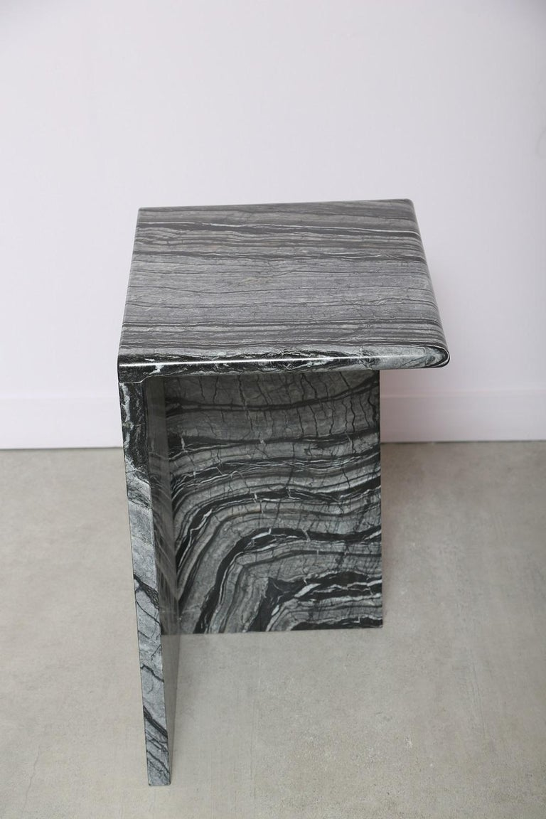 Carrara Marble The Marble House Black Wood High Side Table, Handmade in Italy For Sale