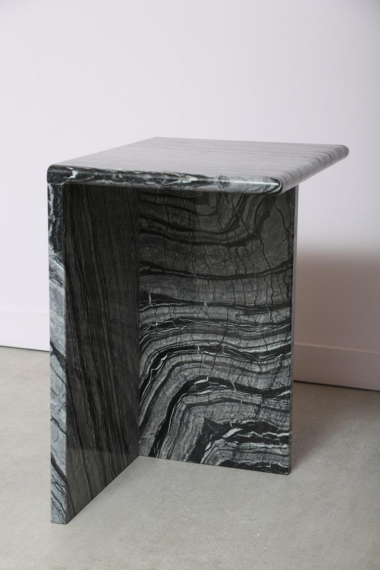 The Marble House Black Wood High Side Table, Handmade in Italy For Sale 1
