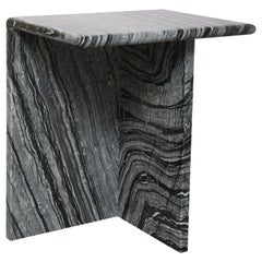 The Marble House Black Wood High Side Table, Handmade in Italy