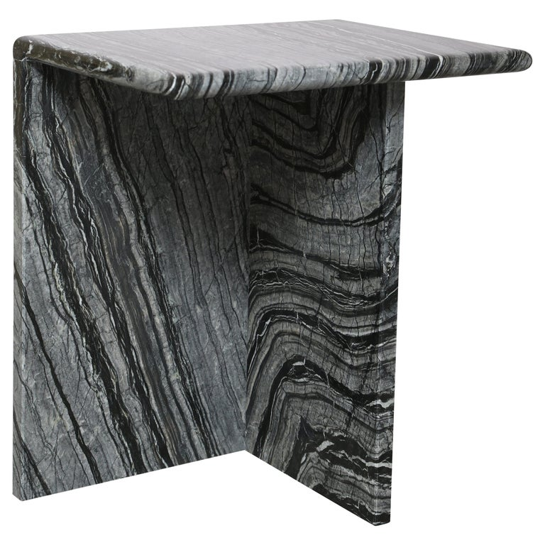 The Marble House Black Wood High Side Table, Handmade in Italy For Sale