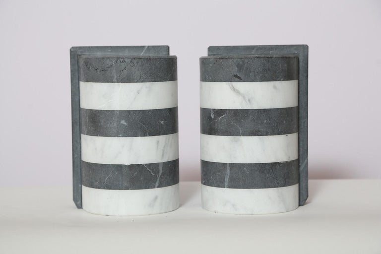 The Marble House Bookends in Black and White Carrara, Handmade in Italy For Sale 4