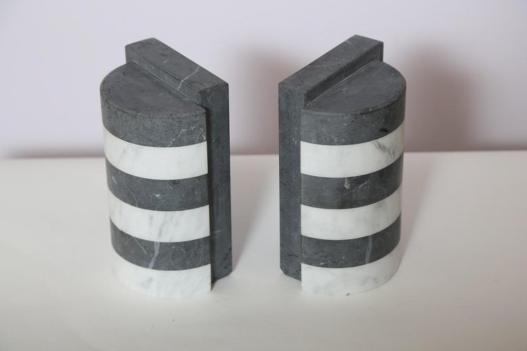 The Marble House Bookends in Black and White Carrara, Handmade in Italy For Sale 5