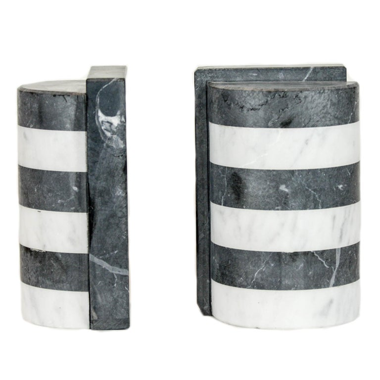 Italian The Marble House Bookends in Black and White Carrara, Handmade in Italy For Sale