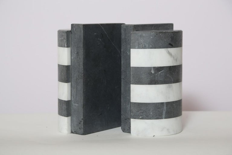 Carrara Marble The Marble House Bookends in Black and White Carrara, Handmade in Italy For Sale