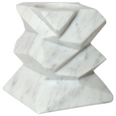The Marble House Rock Candleholder in White Carrara Marble, Handmade in Italy