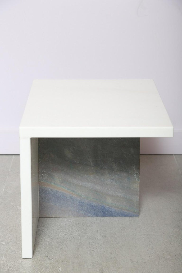 The Marble House White Sivec and Azul Low Side Table.  Can be paired with Tha Marble Huse White Sivec and Azul High Side Table  Dimensions: 15.5