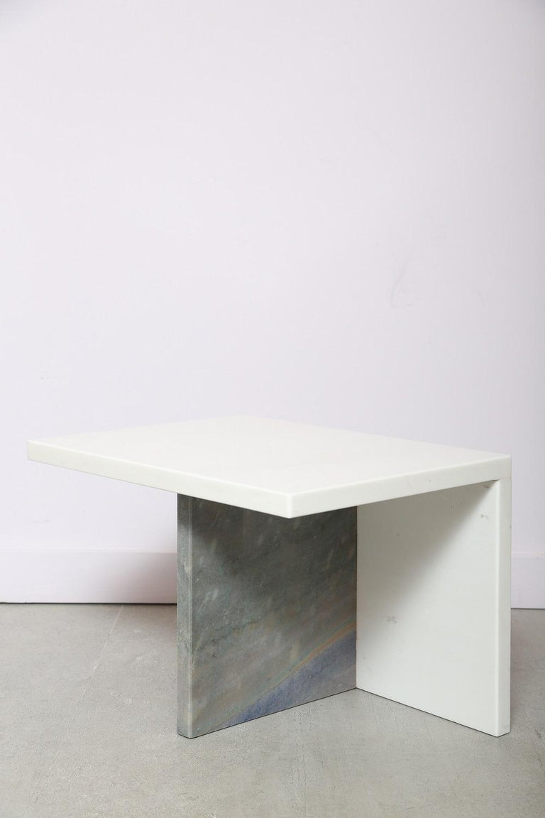 Modern The Marble House White Sivec and Azul Low Side Table For Sale
