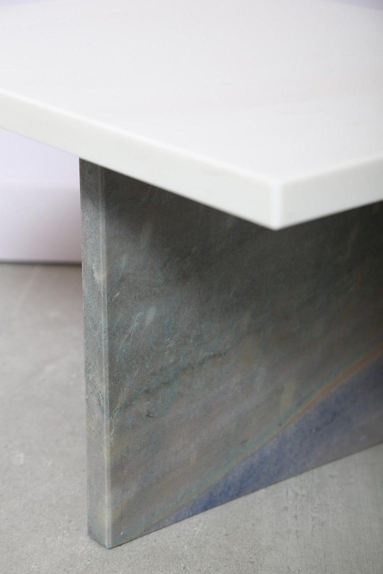Contemporary The Marble House White Sivec and Azul Low Side Table For Sale