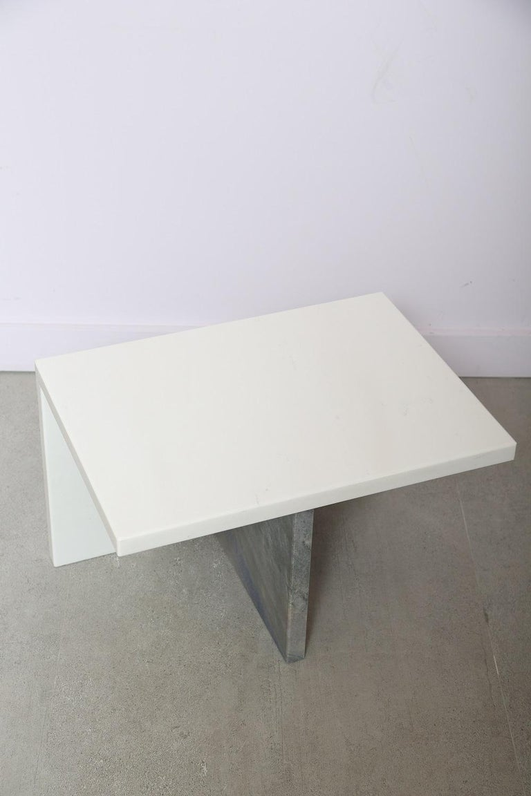 The Marble House White Sivec and Azul Low Side Table For Sale 2