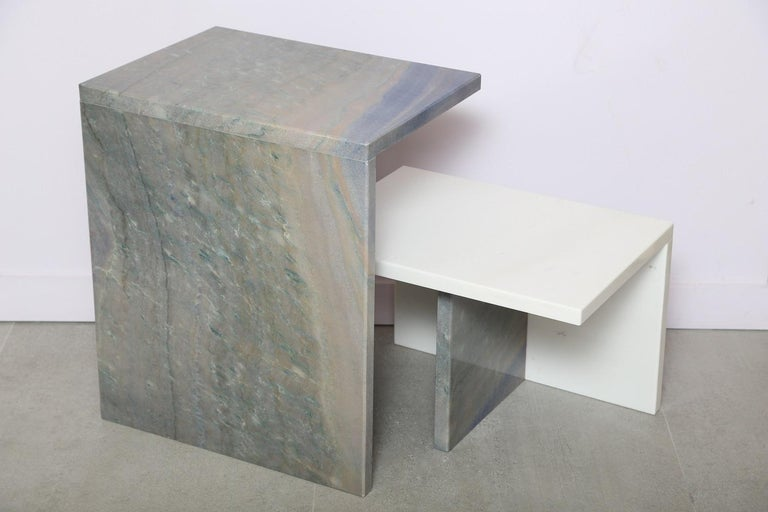 The Marble House White Sivec and Azul Low Side Table For Sale 3