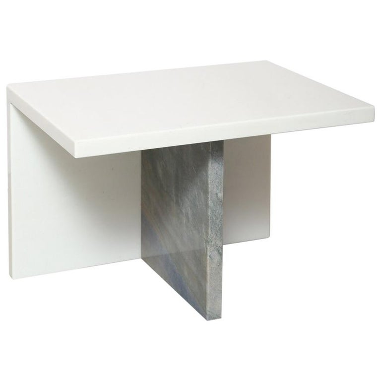 The Marble House White Sivec and Azul Low Side Table For Sale