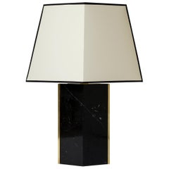 'Marine' Black Marble and Brass Table Lamp, by Dorian Caffot de Fawes
