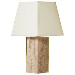 The 'Marine' Travertine and Brass Table Lamp, by Dorian Caffot de Fawes