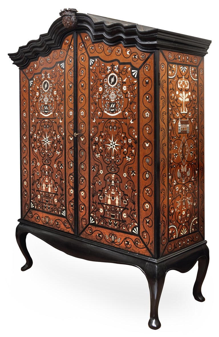 The highly important and unique ebony and pen-engraved bone inlaid marriage cabinet of governor-general Diederik Durven (1676-1740) of the former Dutch East-Indies