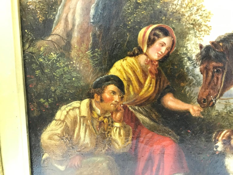 English The Master Greeting Gypsies by William Shayer For Sale