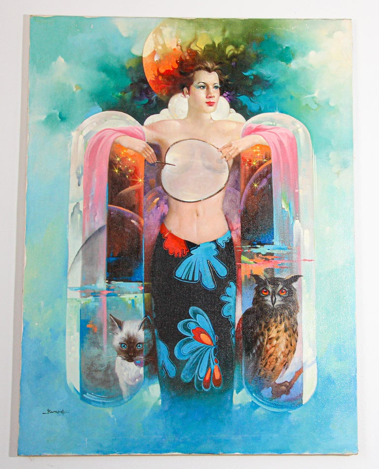 The Moon Goddess Oil Painting on Canvas For Sale 8