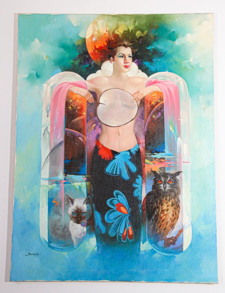 The Moon Goddess Oil Painting on Canvas For Sale 9