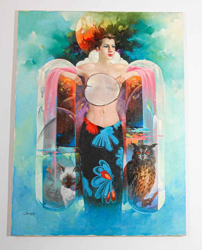 The Moon Goddess Oil Painting on Canvas For Sale 10
