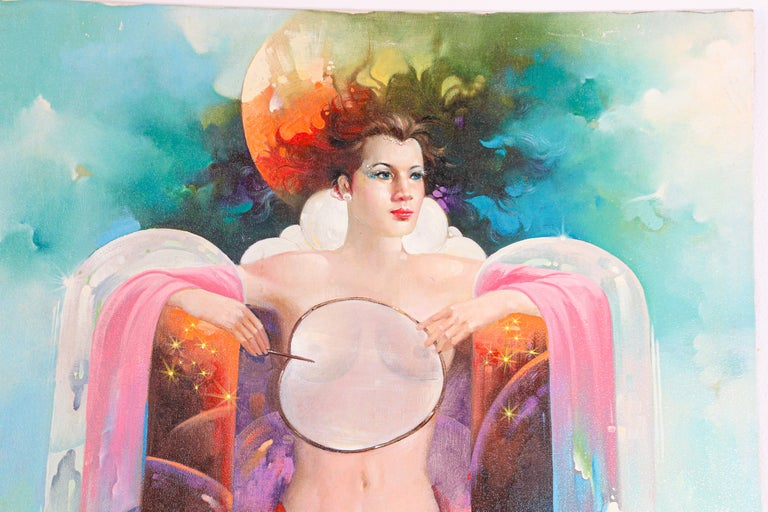 The Moon Goddess oil painting on canvas. Great colors with a lady under the moon with a cat and owl around her. Very fine contemporary painting, stretched canvas on wood, not framed. Signed on the left corner.