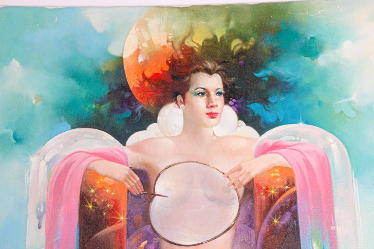 Modern The Moon Goddess Oil Painting on Canvas For Sale