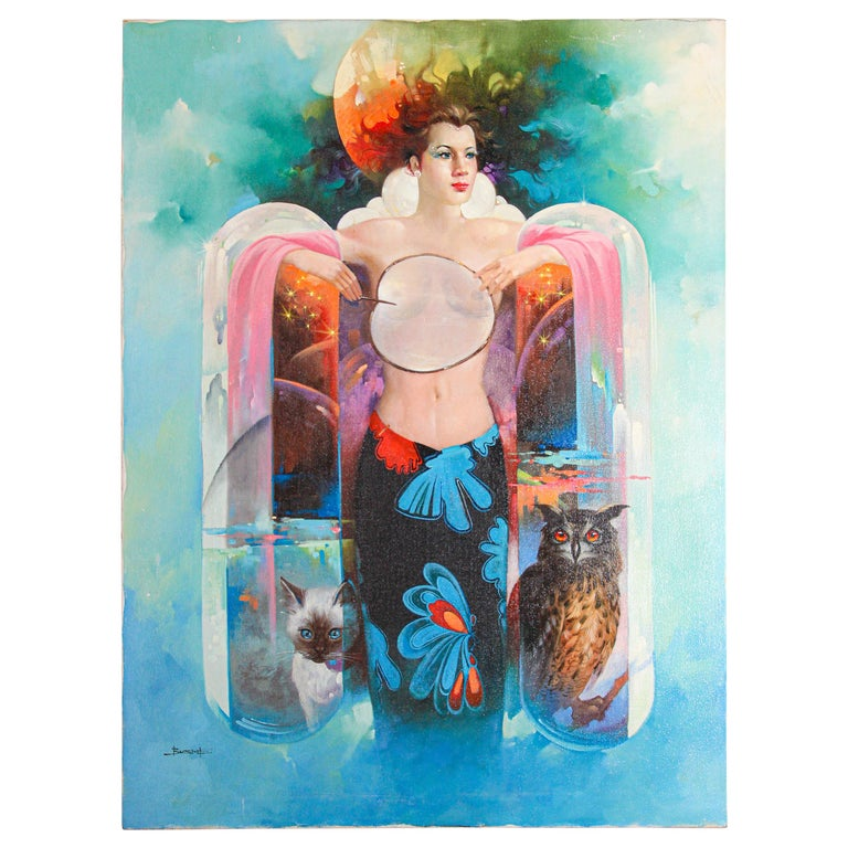 The Moon Goddess Oil Painting on Canvas For Sale