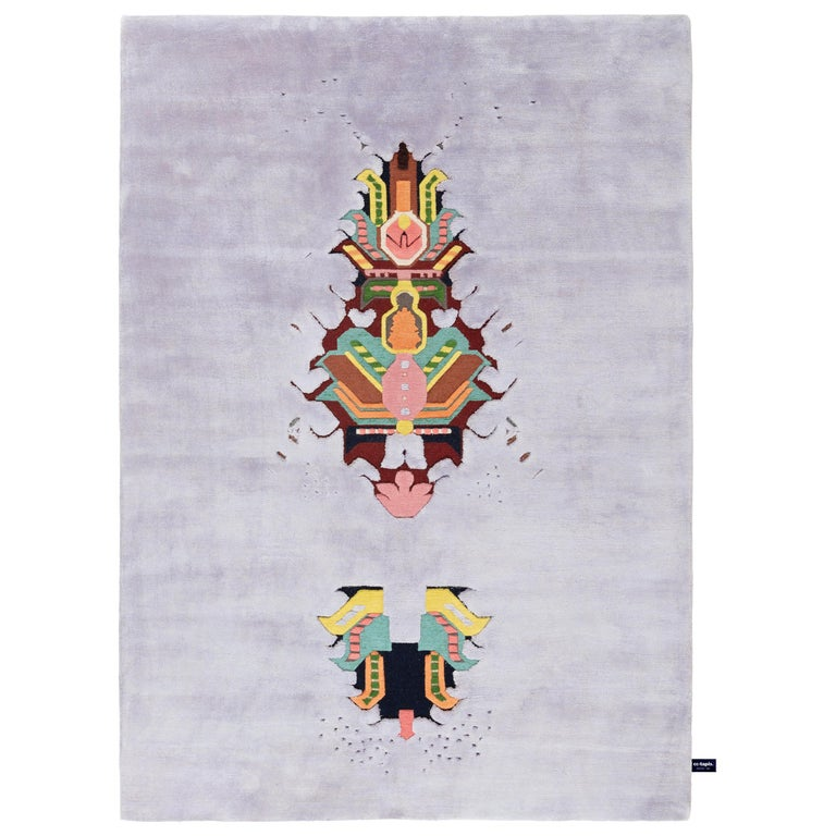 For Sale: Purple (Lilla) The Mothership Rug Invaders Rug by CC-Tapis