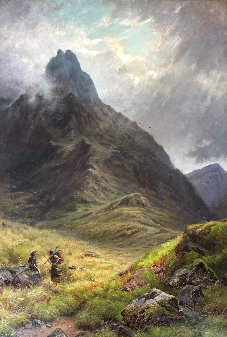 Victorian 'The Mountain Pass' by G. Wright For Sale
