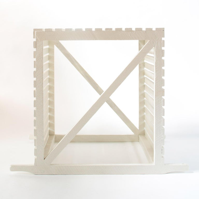 'Museum Crate' Side Table/End Table in English Oak with White Painted Finish For Sale 2