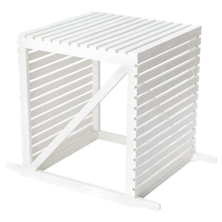 'Museum Crate' Side Table/End Table in English Oak with White Painted Finish For Sale