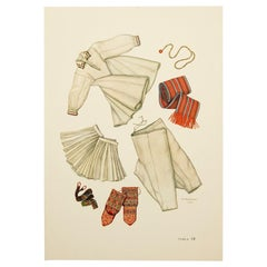 The National Dresses of Macedonia Illustrated Drawing in Plate, 1963
