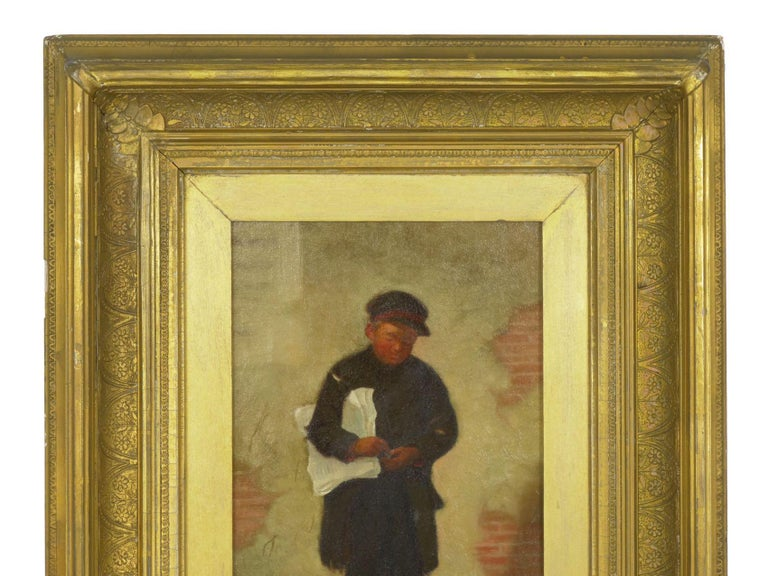 """""""the Newsboy"""" Antique Oil Painting by Charles Markham For Sale 3"""