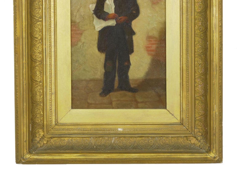 """""""the Newsboy"""" Antique Oil Painting by Charles Markham For Sale 4"""
