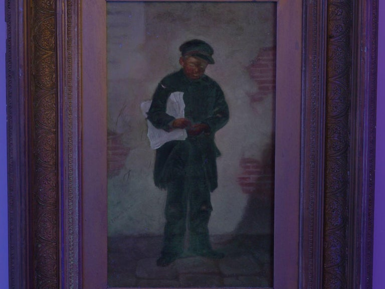 """""""the Newsboy"""" Antique Oil Painting by Charles Markham For Sale 8"""